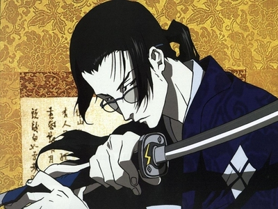 I have A thing for guys in glasses;)! So many to choose from too! What's a girl to do??!! Jin from Samuria Champloo (in picture), Uryu Ishida from Bleach, Soubi from Loveless, Able Nightroad from Trinity Blood. Etc!