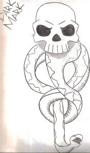 How do آپ like my Dark Mark drawing? Now I have to admit I looked at pictures from the internet to be able to draw it. But it still took me a while to draw it. (Sorry about the dark spots on the left hand side and bottom of the page)