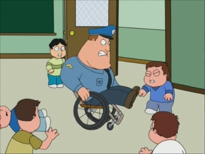 Joe Swanson! He's has kicked Peter, Glen and Cleveland cul, ass all at the same time, took out little people drug dealers (while in his wheelchair!!) Yes, I know he had a little help from Brian, but I feel Joe did most of the work! I would have a dit Stewie of course hands down, but I think that all changed when... WHO KICK HIS BUTT... none other than Susie Swanson... Joe's little daughter! So, Joe is the over-welling answer to this question!