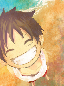 Luffy has such an adorable smile, which is why he is smiling in the banner