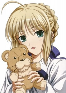 Since I don't like Ciel's smile.. XD I'll go with Saber.. here it is! <3