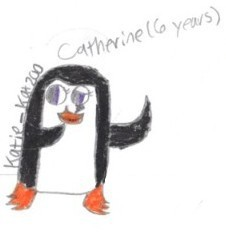 Well, my OC is a penguin, auk named Catherine. She is smaller than the average penguin, auk and she's half good and half evil. Here's a picture, drawn kwa me! :D And here's what she would look like as a human: http://images4.fanpop.com/image/user_images/2409000/Katie_Kat200-2409829_1034_1142.jpg