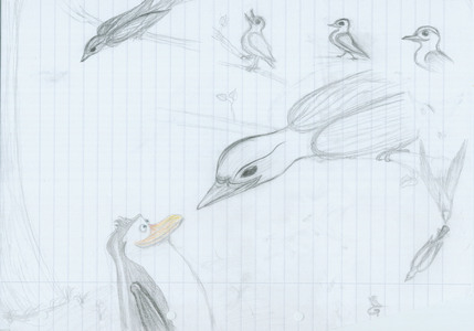 """The Bird G (or also G-Bird) is my icon... my sign... in origin as signature for my paintings. The German word for bird is """"Vogel"""" and my name is Vanessa... so the 'v' is one reason for the bird, the other one is, that, since I'm drawing - I always drew birds (so real birds, not comic). The 'G' is from my family name. And my OC (I still don't know what that word really means, can someone tell me?) is the Bird G, but in female form... as me! Really myself! In origin, the G-Bird has always been a blackbird - my inayopendelewa bird. (As wewe can see, I'm quiet proud of it... auf meine 2 Vögel...XD Hope, I'm not annoying, but hey: wewe asked ;D)"""