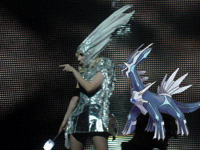 The Gag (Thats what my cousins make me call her) dressed as Dialga. I call it...... DIALGAGA! (Found on the Pokemon Spot)