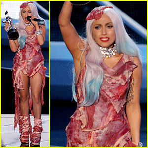 THE MEAT DRESS!! :D *nom nom* Ga Ga ah ah ahh! froma ah ah age!(french for cheese) Ga ga ooo la la! im so delicious.
