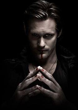 Eric Northman (From True Blood) Because he is a vampire that likes to feed off of humanblood and go and hunt them. Also, because Damon would do anything for Elena even though he's not with her like Eric would do anything for Sookie even though he's not with her