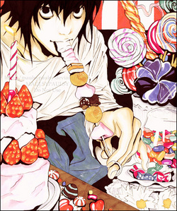 L Lawliet with whole bunch of sweet foods XD