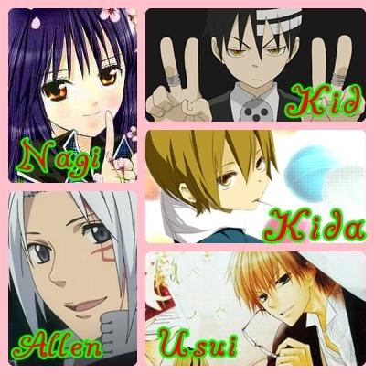 +Nagihiko Fujisaki <3(Shugo Chara!) +Allen Walker (D.Gray+man) +Death The Kid (Soul Eater) +Kida Masaomi(Durarara!) +Usui Takumi (Kaichou wa Maid-sama)