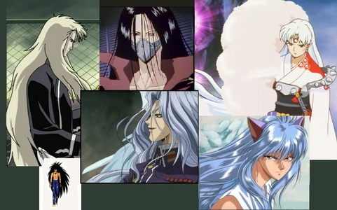 I have a serious hair fetish.... for me the longer and shinier the better. I 愛 the dues on all these guys, from left to right it is: Keiki from The Twelve Kingdoms, Karasu from Yu Yu Hakusho, Rosiel from エンジェル Sanctuary, Sesshomaru from Inuyasha, and on on the bottom left Demon Yusuke Urameshi from Yu Yu Hakusho, and bottom right Youko Kurama from Yu Yu Hakusho.