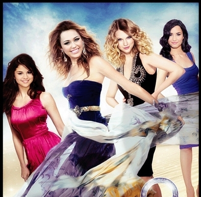 here, miley cyrus with taylor,demi,and selena