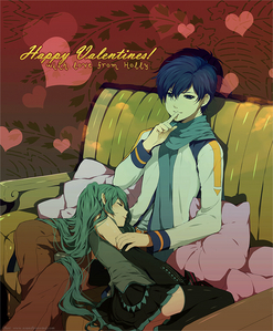 Miku Hatsune + Kaito from Vocaloid.