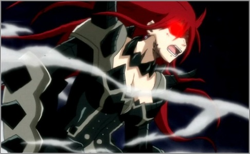 erza from fairy tail when she transforms to her armours but my favs r tha black wing armour n tha purigatory armour