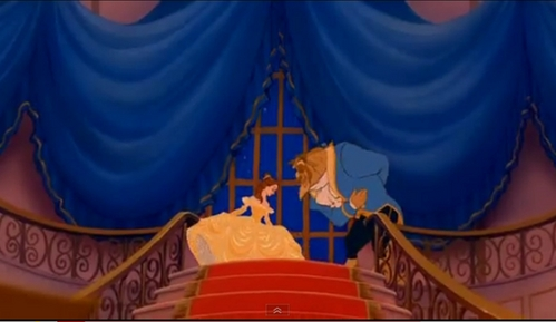 how about this one of belle with beast on the stair case before they dance.