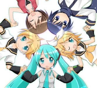 Vocaloid is adorable, right? :3 If you don't know, the girl in red is called Meiko, the boy in blue is Kaito, the girl in yellow is Rin Kagamine, the girl in tial is Miku Hatsune, and the boy in yellow is Len Kagamine. I pag-ibig Len-kun. X3