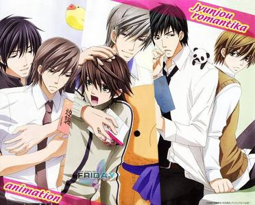 (Did my last answer get deleted или what?) I have a lot of favorites, and they're so vastly different that Ты can't really choose a favorite. But my picture is of Junjou Romantica because it's lesser known, I suppose. And I Любовь Hiro-kun and Usagi-san.