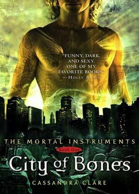 """City of Bones. First in the Mortal Instruments series. It's okay so far. Not bad, but not great either. It reminds me of InuYasha; entertaining for the first few chapters (or episodes in InuYasha's case), but then after a while it's just kind of boring """"same-old-demon-slaying-again."""" I'm hoping it gets better soon."""