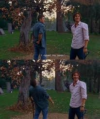 It's from Supernatural Show: Dean: House rules, Sammy. Driver gets to pick the music, the shotgun shuts his cakehole. Bloopers: Jared: Aw f****! Jensen: What? Jared: I just ripped my pants! Jensen: *cracks up*