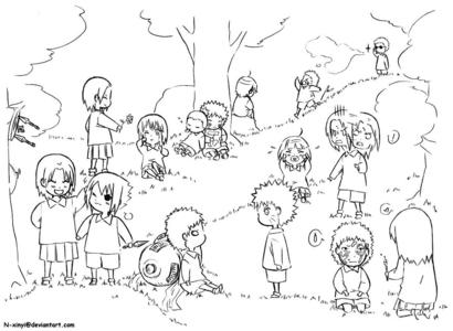 It's the Naruto characters as kids. Left to right, it's: Tenten, Sasuke, Ino, Sakura, Gaara, Shikamaru, Choji, Lee, Naruto, Hinata, Kiba, Neji, Kankuro, Shino, and Temari. Sasuke is learning how to throw kunai from Tenten, Ino is offering Sakura a hoa to cheer her up, Gaara and Naruto are having a monster stare-down, Shikamaru and Choji are napping, Choji with a bag of chips in hand and Shikamaru using his large friend as a pillow, Lee being emo (everyone else has been angsty at some point so why not him too?), Hinata is crying because she Mất tích her stuffed toy somehow and Neji is frantically trying to find it, Kiba tried to pull a prank on Shino but ends up being chased away bởi a nest of beetles, and Temari is honing her artistic capacity on Kankuro's face.