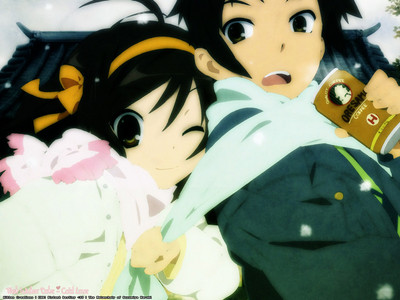 Haruhi Suzumiya and Kyon!!! Well for me, this pic is so cute.. I hope you like it!!! >.<