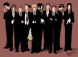 Naruto guys in suits. i've also got another one at http://rikayu-chan.deviantart.com/art/Naruto-Beach-Boys-102634915