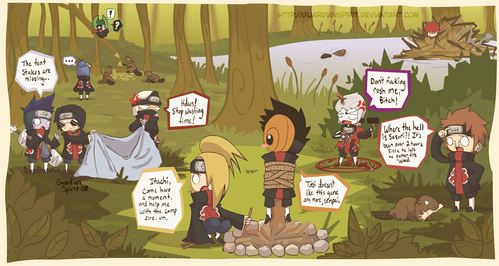 The Akatsuki went camping 8D If bạn can't read what they're saying, I'll write it here: Kisame: The tent stakes are missing... Kakuzu: HIDAN! Stop wasting time! Hidan: *uses the wooden stakes in his ritual* DON'T FUCKING RUSH ME, BITCH! Deidara: Itachi! Come here for a moment, and help me with the campfire, uhn! Tobi: *la gasp! Evil Deidara tied him to a pole!* Tobi doesn't like this game anymore, Senpai! Pein: Where the hell is Sasori?! It's been over 2 hours since he left to gather ngọn lửa, chữa cháy wood! *find Sasori and bạn get a cookie :D*