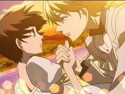 Haruhi (oops I originally a dit Hikaru) and Tamaki, faling off of a bridge....together.