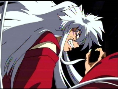 i guess inuyasha's full demon form would work. his eyes turn red tho
