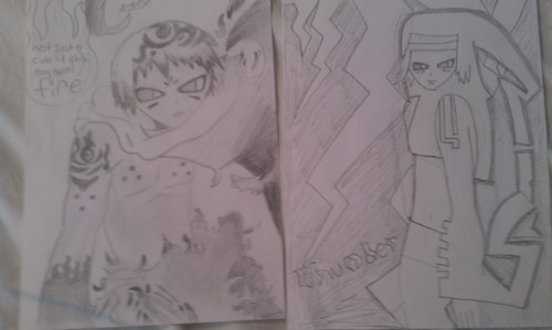 ok, so I didn't really change the picture, but at least I didn't trace these. it's apoy and thunder from soul eater manga!