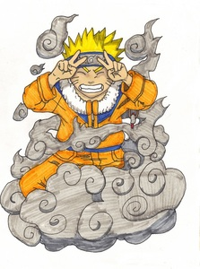 its based off of the first Naruto art book, but not a single part of it is traced!