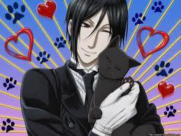 Sebastian holding a kitty! Anime; kuroshitsuji