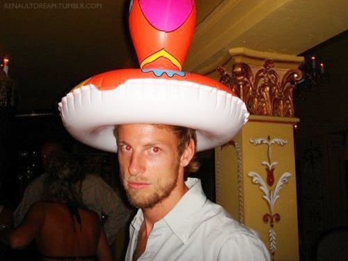 This...i guess..That's my idol (Jenson Button) with his stupid hat o.O Hehe lol