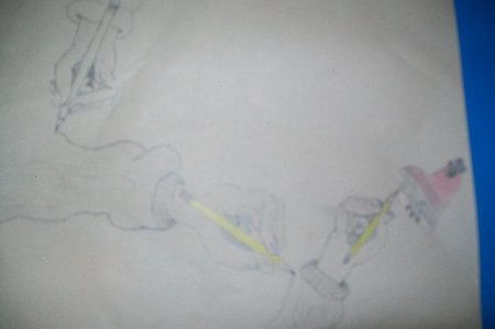 It's really blurry, but it's a hand, drawing a hand, drawing a hand, drawing a دل with an arrow/rose through it.