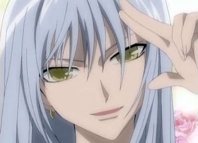 Hm... thinking, thinking... ah- no, that's silver... wait... *checks google images* it's white-ish... wait! In the mangá he DID say his hair was white! HOORAY! My answer is... Ayame Sohma of Fruits Basket! Oh, and please excuse my thinking aloud earlier XD Just in case anyone's wondering, yes, that [i]is[/i] a man.