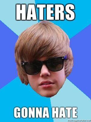 Yeah I Любовь Justin Bieber!!But haters will always hate..