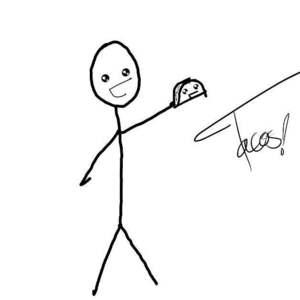 In collaboration with my friend. XDD I drew the stickman. XDD
