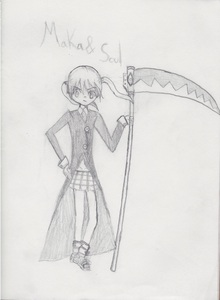 It was a quick sketch (done on paper)... It's really bad! I hate how it turned out, I made her too tall... But it was my first time drawing them, so... Anyway, it's Maka and Soul from the anime Soul Eater (or at least it's supposed to be...)