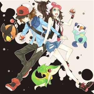 I drew Starter Pokemon and 2 Trainers!