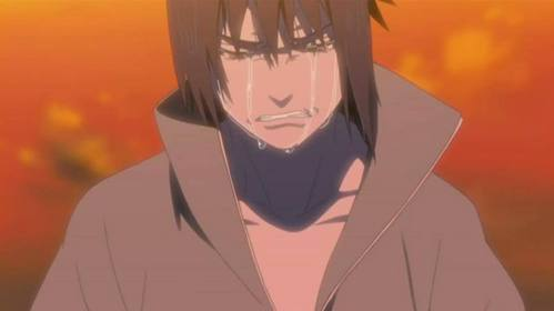 sasuke uchiwa from naruto sasuke crying after knowing whhy itachi kill his clan and he cries over the death of itachi