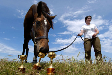 My favourite racehorse would have to be Ruffian. She was just so amazing! But my other favourite is Makybe Diva she is an Australian champion winning 3 Melbourne cups in a row. Bellow is a pic of Makybe Diva and her Melbourne cup trophies