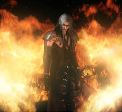 Sephiroth. >w> His theme song makes me smile and, ocassionally, laugh. xD