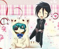 sebastian dressing ciel as a koneko!(kitty!) XD