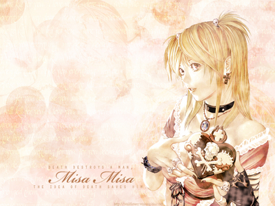 Misa Amane! she's Strong-willed, zany, out-going, and not afraid of anything! she's everthing I'm ussually not.