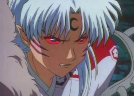 I know this was already gepostet but deal with it. Sesshomaru from Inuyasha. LOL just got reminded of a part of Inuyasha I thought was funny. Sesshomaru: *smiles* Jaken: Oh no *gets down on knees* Please get angry lord Sesshomaru! Smiling Lord Sesshomaru is soo much scarier that angry Lord Sesshomaru! I was like XD. I agree with Jaken