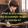 "xD (incase te couldn't read it) ""What do te suppose this broomstick-shaped package is?"""
