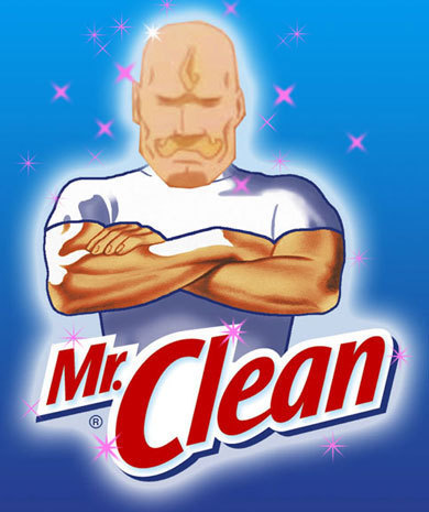 I though this picture of Armstrong( from Full Metal Alchemist) posing as Mr. Clean was pretty epic!