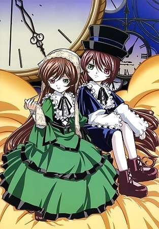 They are Suiseiseki(Left, also called Jade stern) and Souseiseki(right, also called Lapis Lazuli Stern) from Rozen Maiden. They are twins.