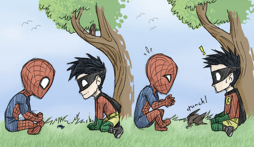 This made me laugh the first time I saw it! Spiderman & Robin!