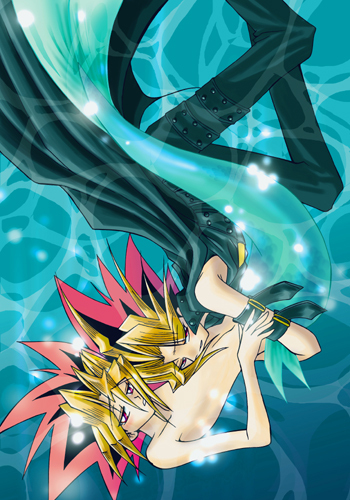 Merman Yugi being held দ্বারা a human Yami!