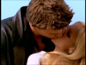"In Angel episode 1x08 ""I Will Remember You,"" when Buffy turns around sees Angel and he's human, he walks into the sun, they embrace and passionately kiss. <3333"