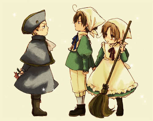 Holy Roman Empire, Romano and Chibitalia (Italy) as little kids~